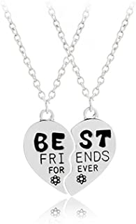 Best Friends Forever Pendant Necklace Broken Heart BFF Friendship Best Friends Matching Necklace for 2 Birthday Christmas Gifts