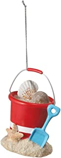 Christmas Decoration 3 Inch Beach Pail with Shells and Shovel Christmas Ornament