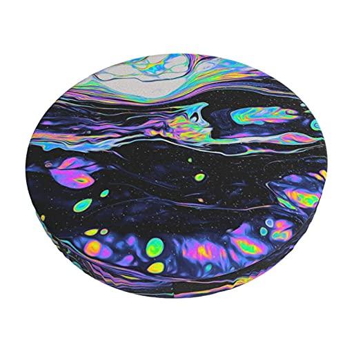 Funda De Cojín para Silla De Bar Redonda Cubierta De Cojín De Silla De Barra Redonda De Vidrio Multicolor Funda De Asiento Suave Antideslizante Protector Elástico