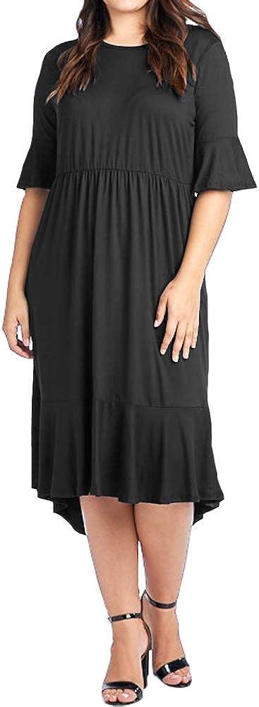 Pastel by Vivienne Women's Bell Sleeve Midi Dress in Plus Size