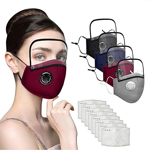 jayotai 4Pcs Face Protections With Breathing Válvuls, 8 Filters And Detachable Eye Protective Shield Fashion Adults Washable Reusable