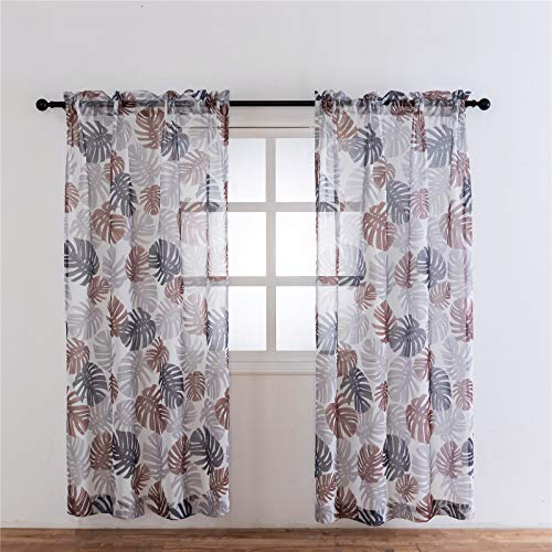 VISIONTEX Sheer Curtains Natural Summer Modern Leaves Printed, Fantasy Grey and Taupe Mix Colorful Leaf Plants, Rod Pocket Window 2 Panel Set, 54