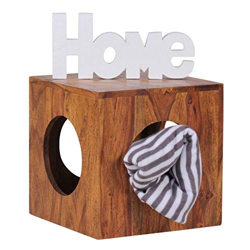 WOHNLING Beistelltisch Massivholz Sheesham 35x35 cm Cube Wohnzimmer-Tisch Design Landhaus-Stil Couchtisch quadratisch Modern Holztisch Natur-Produkt braun Echt-Holz Unikat Würfel-Regal mit Stauraum