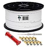 HB-DIGITAL HQ-135 PRO 100m 135dB SAT Cable coaxial blindado cuádruple incl. pelador y 10 conectores F chapados en oro Cable de antena DVB-S / S2 / S2X DVB-C y DVB-T / T2 UHD 4K Full HD 3D