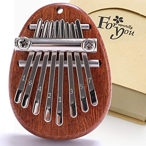 Mini Kalimba 8 Keys Thumb Portable Piano with Music Book Exquisite Finger Harp Musical Mbira Instrument Gift for Kids Adult Beginners (Ellipse Deep Brown)
