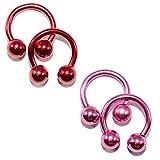 BodyJewelryonline Erwachsenen eloxiertem Titan 14ga Hufeisen Circular Barbells rot/rosa 2Pairs