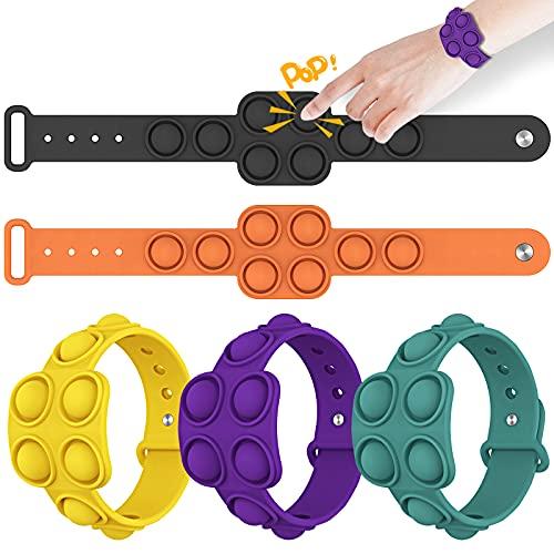 FJAJUNG 5 Pcs Simple Dimple Fidget Bracelet,Wearable Push Bubble Sensory Fidget Toy,Mini Stress...