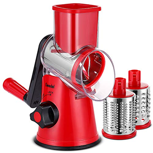 Rotary Cheese Grater & Vegetable Slicer with 3 Interchangeable Blades
