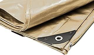 Canopies and Tarps 12' x 12' Heavy Duty Premium Tan Poly Tarp (11'6