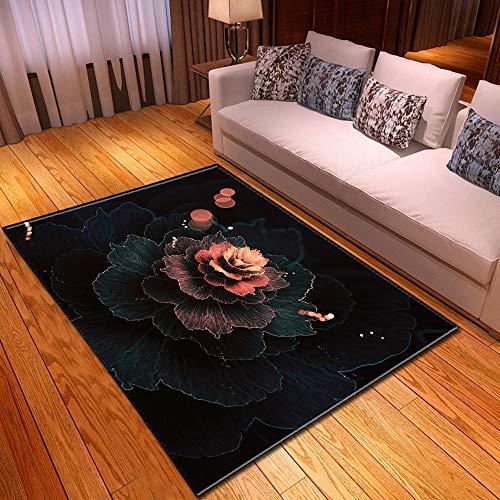 LHGBGBLN Flores abstractas Negras Sala de Estar Dormitorio Alfombra 3D Alfombrillas de Pasillo Alfombrillas abstractas Alfombrilla Antideslizante