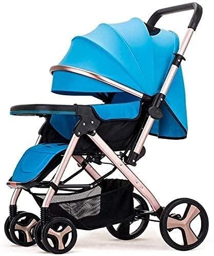 Carrito de bebé recién nacido ligero Bebé Carrito de bebé sentarse Lie Light Doblad (Color : Blue)