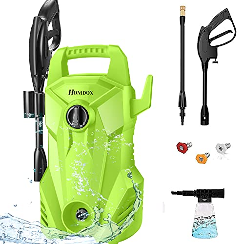 Homdox 2300 PSI Electric Pressure Washer 1400 W Power Washer 2.2GPM Compact High Pressure Cleaner with Adjustable Spray Nozzles, Foam Cannon for Home, Car, Driveway, Patio