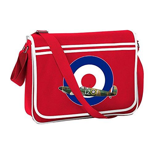 Ice-Tees Sac à bandoulière rétro pour avion de la Seconde Guerre mondiale - Rouge - Red, Taille unique