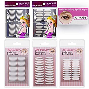 5 Packs Natural Invisible Single/Double Side Eyelid Tapes Stickers Medical-use Fiber Eyelid Strips Instant lift Eye Lid Without Surgery Perfect for Hooded Droopy Uneven Mono-eyelids