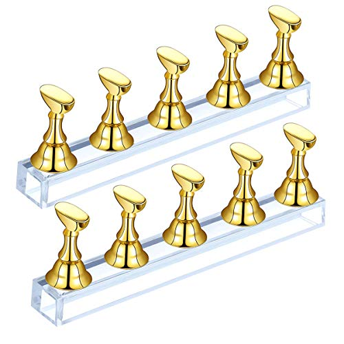 Madholly 2 Set Acrylic Nail Art Display Stand- Magnetic Nail Tips Practice Holder Stand Fingernail DIY Display Stands for Home and Salon False Nail Tip Manicure Tool (Gold)