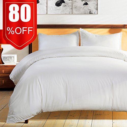 Bedding Duvet Cover Set King White -Premium With Zipper Closure Hotel Quality Hypoallergenic Wrinkle and Fade Resistant Ultra Soft -3 Piece-1 Soft Microfiber Duvet Cover Matching 2 Pillow Shams