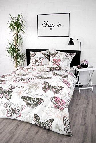 jilda-tex Bettwäsche 100% Baumwolle Design 135x200 cm + 80x80 cm mit Reißverschluss Bettbezug Bettgarnitur Verschiedene Designs (Vintage Rose)