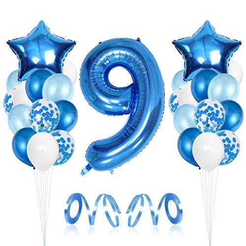 9er Cumpleaños Bebe Globos Decoracion, Cumpleaños 9 Año Bebe Niño, Globos Numeros 9 Decoracion, Globos de Confeti de Latex Boy Ballon Party Cumpleaños 9 Año