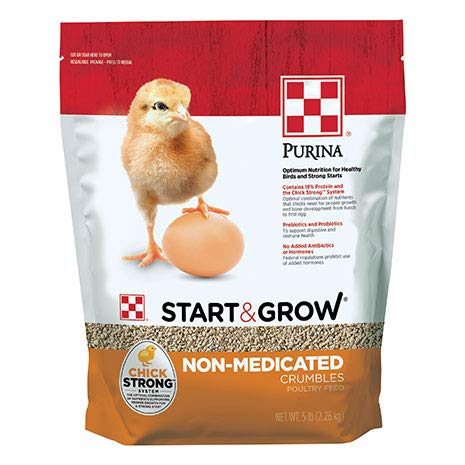 Purina Start and Grow | Non-Medicated Chick Feed Crumbles | Nutritionally Complete - 5 Pound (5 lb) Bag