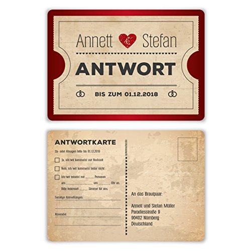 80 x Antwortkarte Hochzeit Hochzeitskarten Antwort Postkarte - Vintage Herz Rot