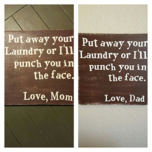 """12x12"""" Put away your Laundry or I'll punch you in the face. Love, Mom or Love, Dad hand painted wood sign, Laundry Sign, Funny Laundry Sign, Mom Humor"""