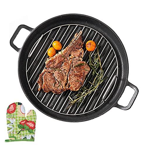 HUABANG Sarten Parrilla, - 30 cm grill asador con rayas pequeño, Con guantes y parrilla para carne, Apto para todas las fuentes de calor Incluido Inducción, 100% Libre de PFOA