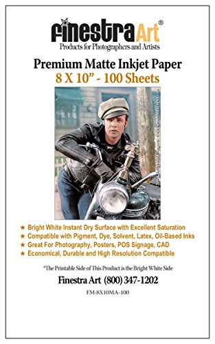 "8"" x 10"" Premium Arctic Matte Inkjet Photo Paper - 100 Sheets"