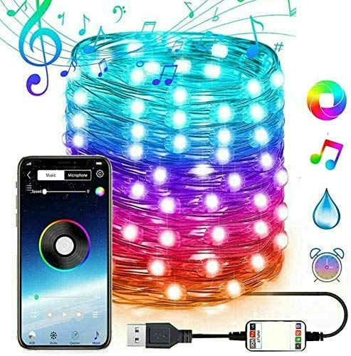 Luci delle fate USB Plug-in , Luci a LED Twinkle String Musica Bluetooth RBG String Lights , APP Remote Multi Color Change Christmas Tree Decoration Lights (20M200LED)
