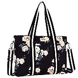 MOSISO Laptop Tote Bag (bis zu 17,3 Zoll), Canvas Rose Multifunktions Arbeit Reise Einkaufen Duffel...