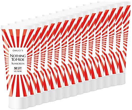 """Der umweltfreundliche Sonnenschutz """"Nothing to Hide"""" von Omuci, Veganer-freundlich, mit natürlichen Inhaltsstoffen. UVA- + UVB-Schutz. (15 x 100ml, 50 SPF)"""