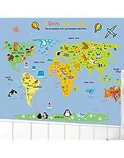Cartoon World Map Diy Wall Stickers Art Decor Mural Room Decal Decals Sticker