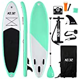 Tabla Hinchable de Paddle Surf + SUP Paddle Remo de Ajustable | Bomba | Mochila | Aleta Central Desprendible | Kit de Reparación | Vela de Viento y Surf Leash(300*83*15cm Grosor, Carga Hasta: 350kg)
