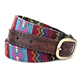 Weeksu Vintage étnico bordado de 2,5 cm de cuero correa de la cintura mujeres de la correa del metal de la hebilla de las señoras de Cinturones femeninos para los pantalones vaqueros, estilo 1