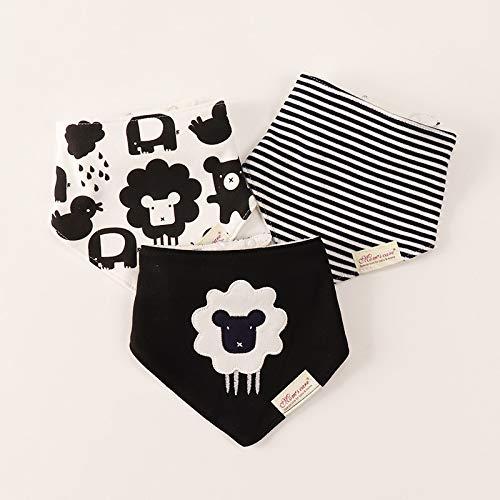xingxing 3 baberos para bebé, diseño de ovejas panda con dibujos animados, toalla para saliva para niños y niñas, paño triangular, pañuelo de algodón, bufanda para recién nacidos (color: 2)