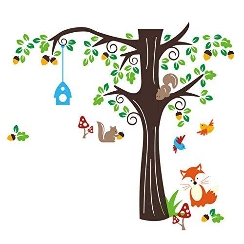 Grandora, W5296, muurtattoo, boom met vos, vogels, eekhoornjes, 128 x 115 cm (b x h), kinderkamer, meisjes, decoratie voor babykamer, jongens, sticker, muursticker