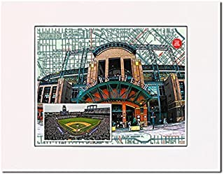 Baseball, Denver Rockies Coors Field art print Matted at 11 inches x 14 inches and ready-to-frame. Gallery quality print.