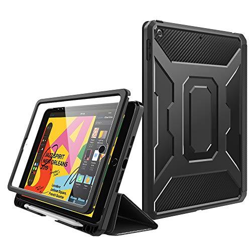 MoKo - Funda para iPad de 7ª generación/iPad 10.2 2019, [Protector de Pantalla Integrado] a Prueba de Golpes, Funda Inteligente con función Atril y Reposo automático, Color Negro