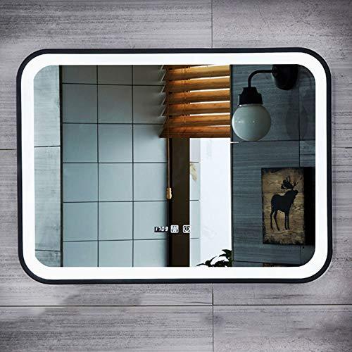 Verlichte badkamerspiegel met ledverlichting, waterdichte badkamerwandspiegel, rechthoekige spiegel, cosmeticaspiegel, wit licht, warm licht, aanraakschakelaar + tijd + decoratiespiegel met opbergruimte