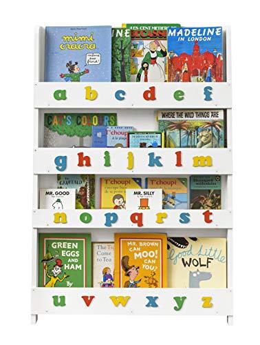 Tidy Books® Libreria montessoriana per Bambini (età 0-10), Alfabeto tattile, Mobile per cameretta, Scaffale in Legno, da Parete, Bianco, 115x77x7 cm, Ecologica, Fatta a Mano, L'Originale dal 2004.