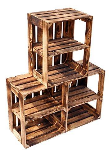 flambierte/geflammte Massive Obstkisten als Regal oder als Klassische Kiste ca 49 x 42 x 31 cm/Apfelkisten Weinkisten aus dem Alten Land (3 Stück geflammte offen mit Quer Einlage)