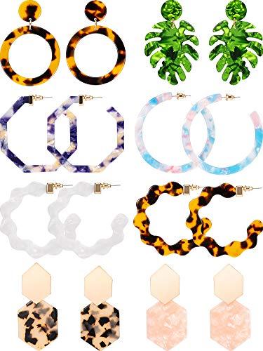 8 Pairs Mottled Acrylic Hoop Earrings Resin Statement Drop Dangle Earrings Polygonal Bohemian Fashion Jewelry Earrings for Women Girls (Leopard-Print Leaf Style)