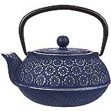 Azul Floral de hierro fundido tetera hervidor de agua con infusor de acero inoxidable,
