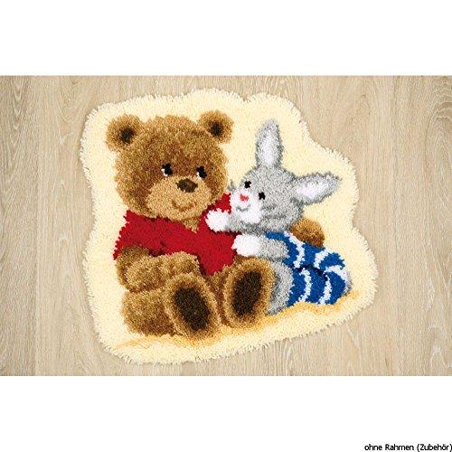 Vervaco Formteppich Spielende Freunde Knüpfteppich mit Knüpfhaken, Baumwolle, Mehrfarbig, 55 x 50 x 1 cm