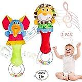 ZWOOS Greifling zum Rassel, 2 Pack Cartoon Tier Baby Musikinstrumente Sensorisches Spielzeug Niedliches Kuscheltier Spielzeug für Babys und Kleinkinder ab 0 Monaten (Elefant Löwe)