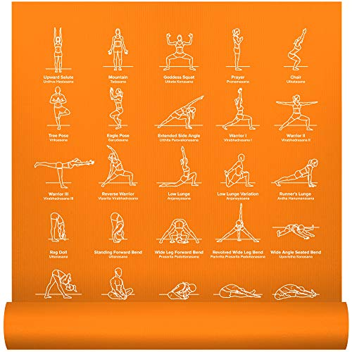 NewMe Fitness Instructional Yoga Mat, Orange, Printed w/ 70 Illustrated Poses, 24' Wide x 68' Long, for Women & Men : Non Slip, Eco Friendly PVC, Non Toxic : for Home or Gym : 5mm Thick