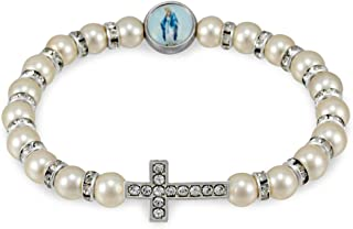 Pearl Beads Bracelet with Rhinestone Cross and Our Lady of Miracles Medallion