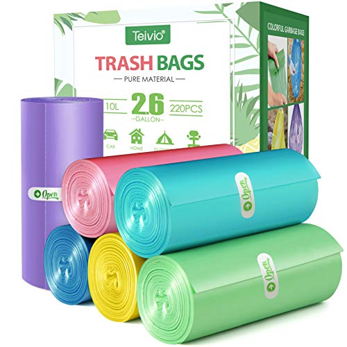 2.6 Gallon 220 Counts Strong Trash Bags Garbage Bags by Teivio, Bathroom Trash Can Bin Liners, Small Plastic Bags for home office kitchen,fit 10 Liter, 2,2.5,3 Gal, Multicolor