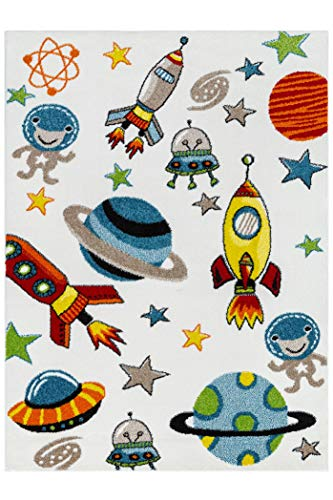 KC CUBS Boy and Girl Bedroom Modern Decor Area Rug and Carpet Collection for Kids and Children Aliens and Rocket in Outer Space (5' 3' x 7' 3')
