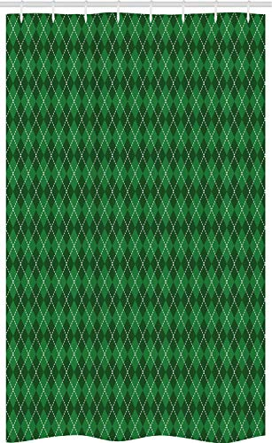 ABAKUHAUS Irland Schmaler Duschvorhang, Vintage Argyle Tartan Art, Badezimmer Deko Set aus Stoff mit Haken, 120 x 180 cm, Dunkelgrün Weiß Grün