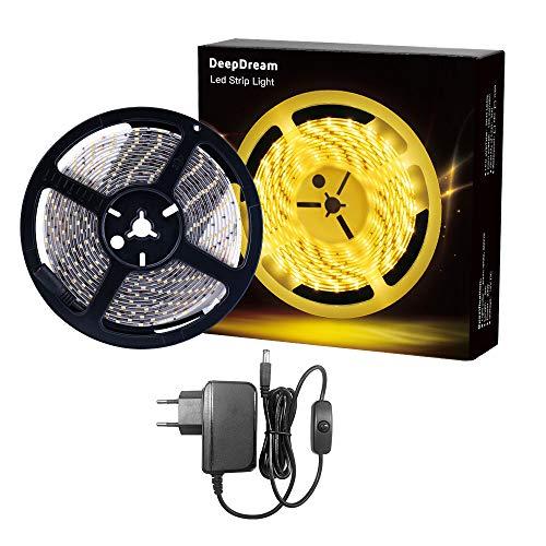 DeepDream 5M LED Strip Set, 3000K Warmweiß, IP65 Wasserdicht,Selbstklebend 2835 LED Streifen, Flexibel LED Band, 300 LEDs Lichtband, 12V Netzteil mit Schalter Enthalten[Energieklasse A+]